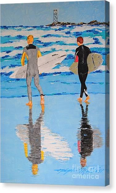 Winter Surfers Canvas Print