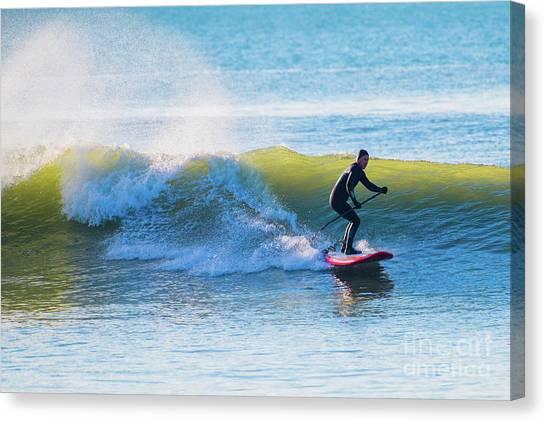 Winter Surfing In Aberystwyth Canvas Print