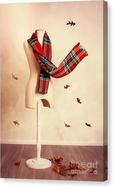 Plaid Canvas Print - Winter Tartan Scarf With Fall Leaves by Amanda Elwell