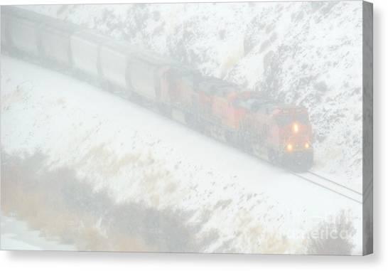 Freight Trains Canvas Print - Winter Train by Mike Dawson