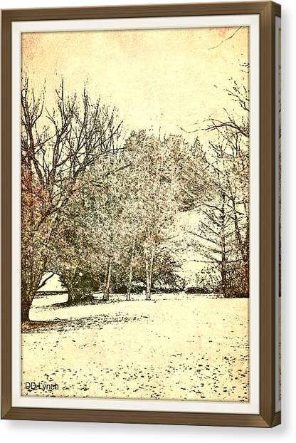 Border Wall Canvas Print - Winter Trees In Sepia Tone by Debra Lynch