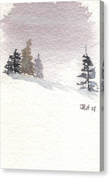 Winter Trees With Purple Sky Canvas Print by Jan Anderson