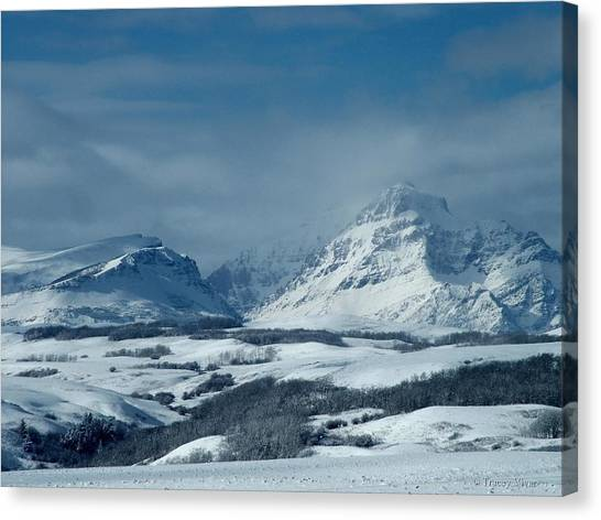 Winter View Of Rising Wolf Mountain Canvas Print