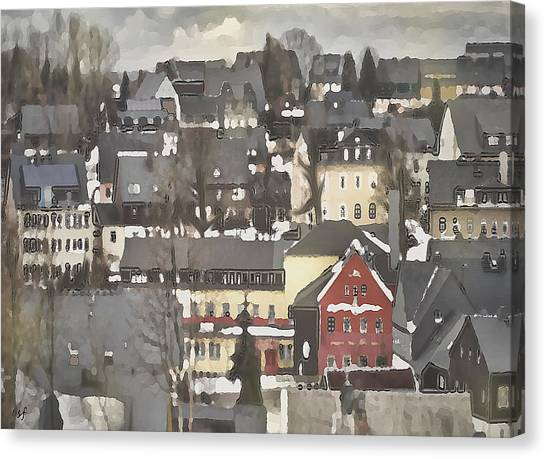 Winter Village With Red House Canvas Print