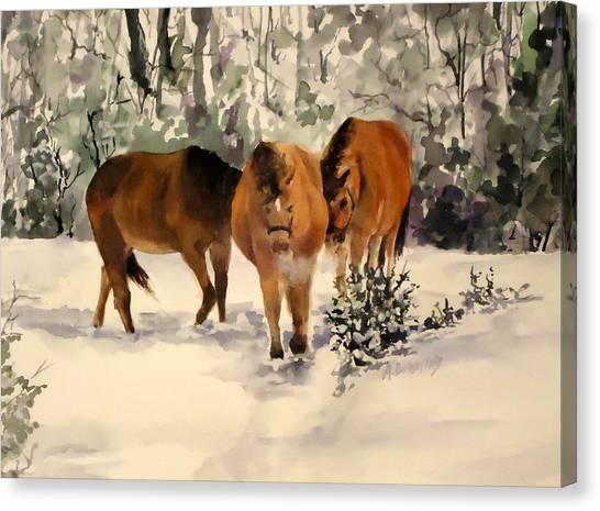 Winter Walk Canvas Print by Andrea Birdsey Kelly
