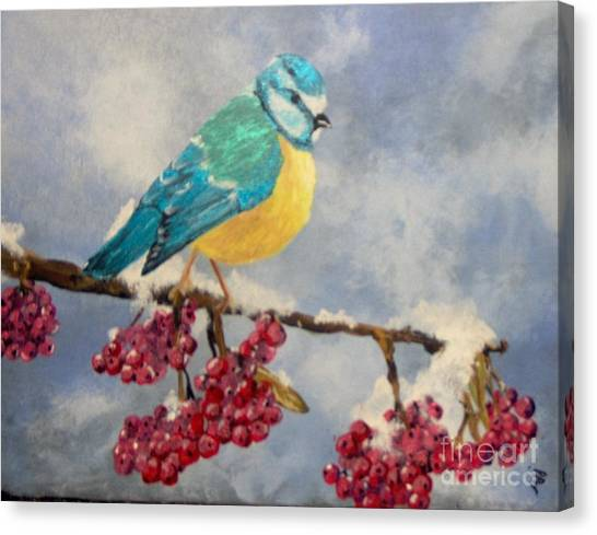 Canvas Print featuring the painting Winter Watch by Saundra Johnson
