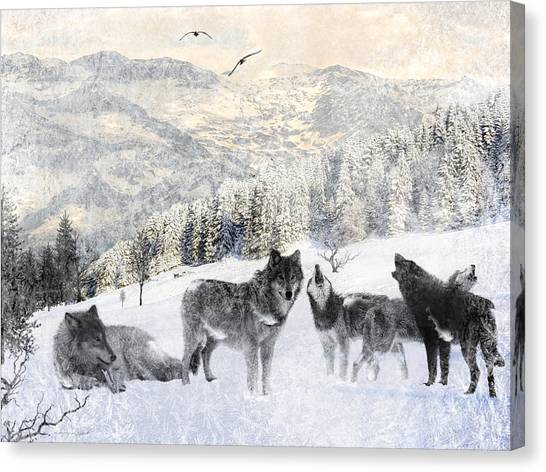 Huskies Canvas Print - Winter Wolves by Lourry Legarde