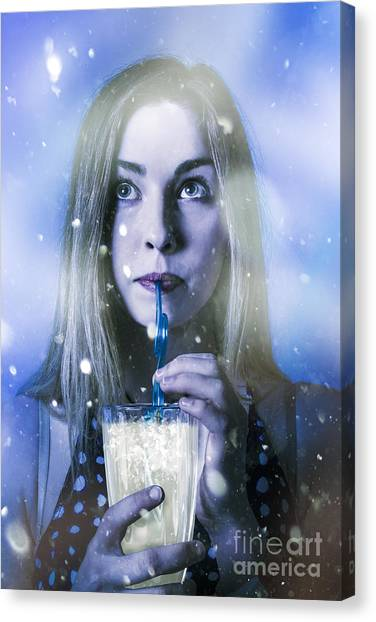 Iced Tea Canvas Print - Winter Woman Drinking Ice Cold Drink by Jorgo Photography - Wall Art Gallery