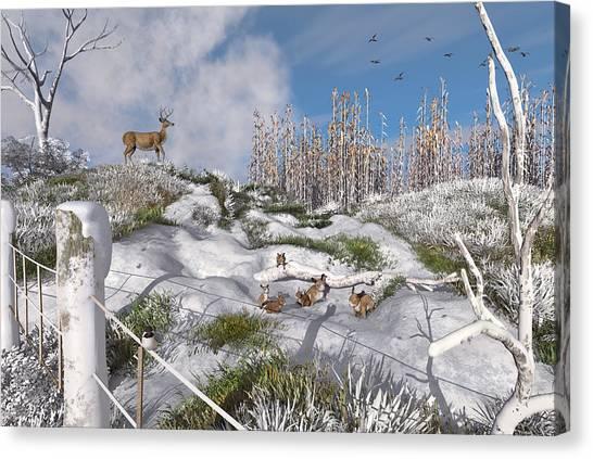 Corn Maze Canvas Print - Winter Wonderland Bunnies by Mary Almond