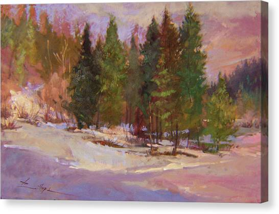 Betty Billups Canvas Print - Winter's Eve Plein Air by Betty Jean Billups