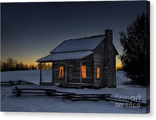 Rustic Canvas Print - Winters Refuge by Anthony Heflin