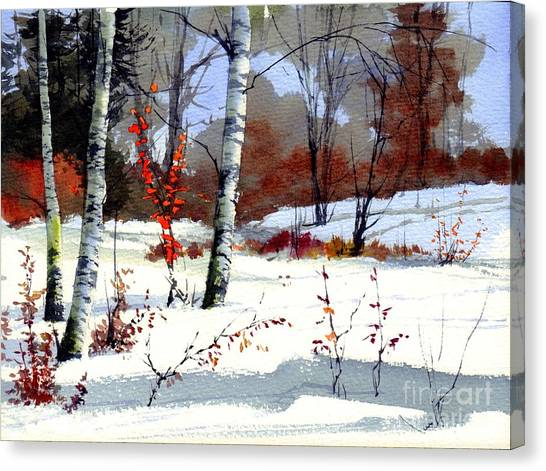 Bush Canvas Print - Wintertime Painting by Suzann Sines