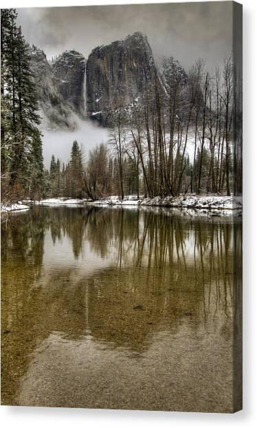 Wintery Upper And Lower Yosemite Falls  Canvas Print
