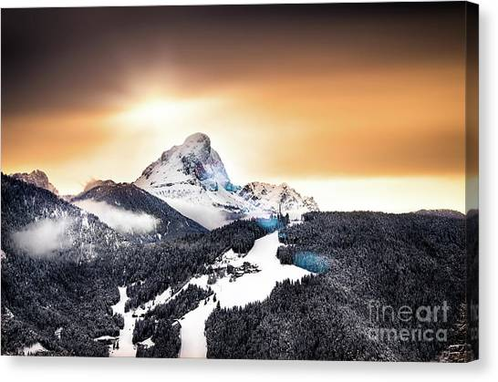 Wintry Sunset Canvas Print by Alessandro Giorgi Art Photography