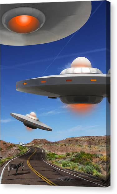 Ufo Canvas Print - Wip You Never Know What You Will See On Route 66 by Mike McGlothlen