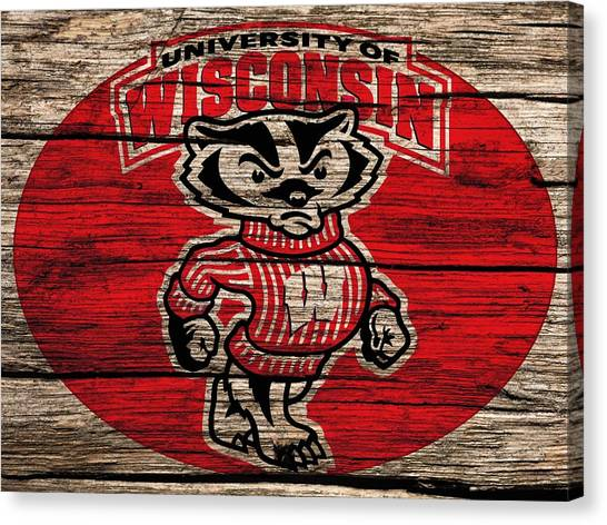 Bachelor Canvas Print - Wisconsin Badgers Barn Door by Dan Sproul