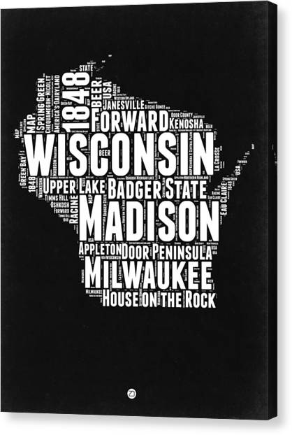Wisconsin Canvas Print - Wisconsin Black And White Word Cloud Map by Naxart Studio