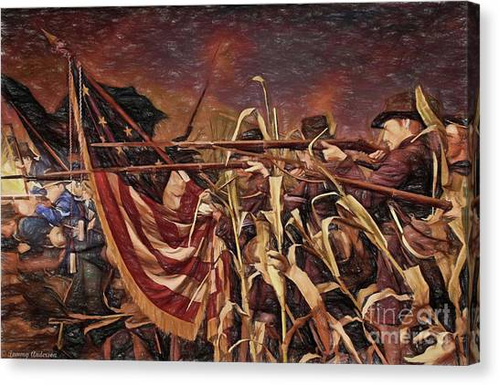 Us Civil War Canvas Print - Wisconsin Black Hats At Antietam - Colored Pencil by Tommy Anderson