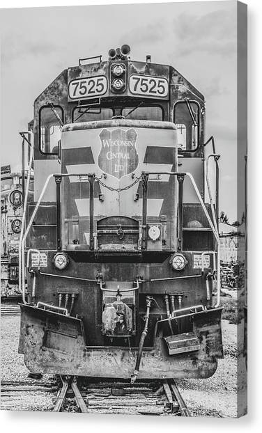 Trainspotting Canvas Print - Wisconsin Central Sd45 - Black And White by Enzwell