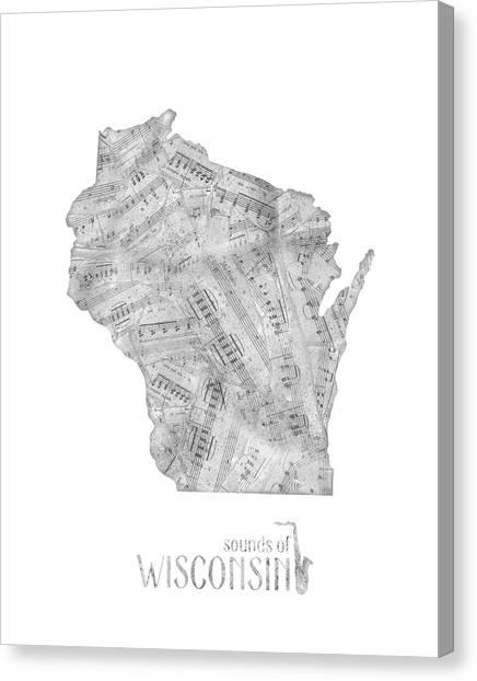 Michigan State University Canvas Print - Wisconsin Map Music Notes by Bekim Art