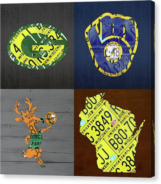 Milwaukee Brewers Canvas Print - Wisconsin Sports Team License Plate Art Milwaukee Green Bay Plus Map Brewers Bucks Packers by Design Turnpike