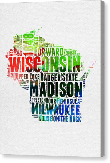 Wisconsin Canvas Print - Wisconsin Watercolor Word Cloud Map  by Naxart Studio