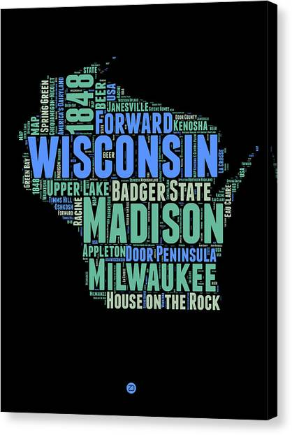 Independence Day Canvas Print - Wisconsin Word Cloud Map 1 by Naxart Studio