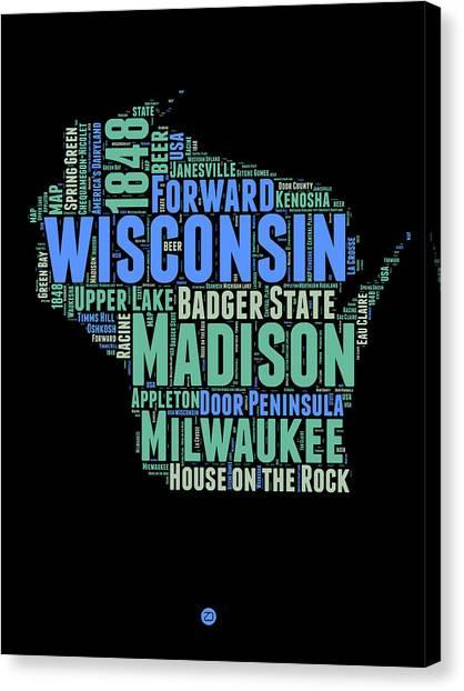 Wisconsin Canvas Print - Wisconsin Word Cloud Map 1 by Naxart Studio
