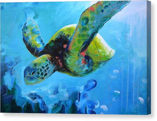 Sea Turtles Canvas Print - Wise Ocean Traveler by Alec Falle Hamilton