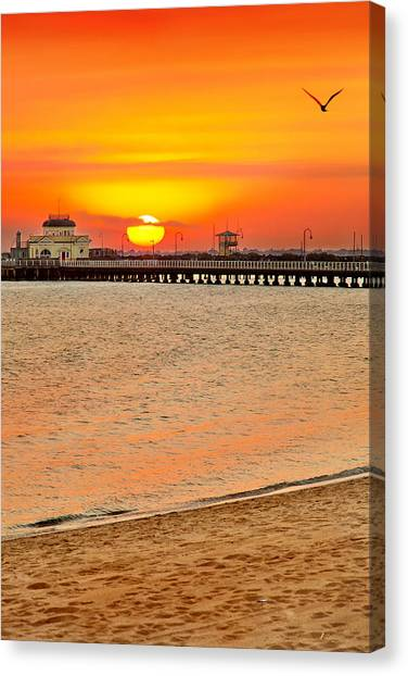 Beach Sunsets Canvas Print - Wish You Were Here by Az Jackson