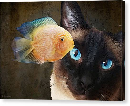 Siamese Canvas Print - Wishful Thinking 2 - Siamese Cat Art - Sharon Cummings by Sharon Cummings