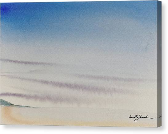 Wisps Of Clouds At Sunset Over A Calm Bay Canvas Print