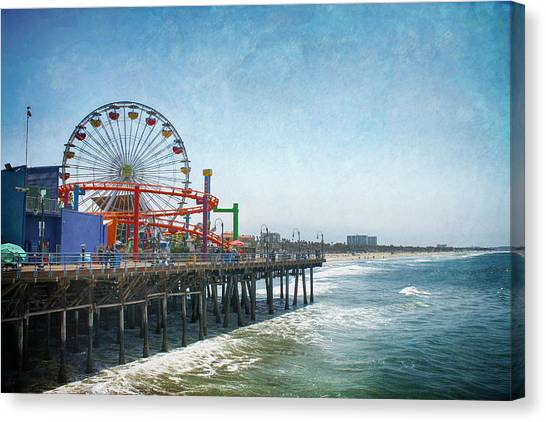 Santa Monica Pier Canvas Print - With A Smile On My Face by Laurie Search