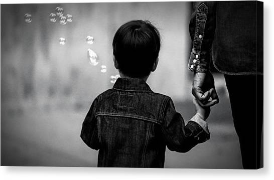 With Dad And Bubbles Canvas Print by Dieter Lesche