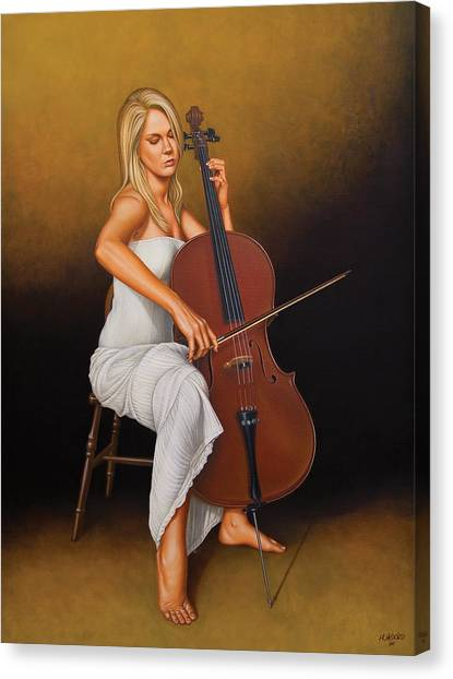 Cellos Canvas Print - With Music In Her Soul by Horacio Cardozo