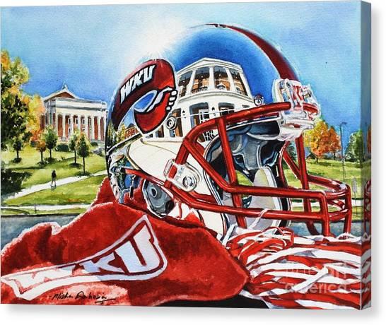 Western Kentucky University Wku Hilltoppers Canvas Print - Wku Reflections Of Augenstein Alumni Center by Misha Ambrosia