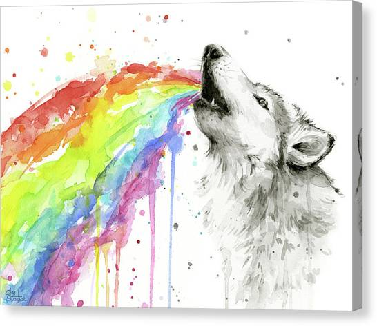 Howling Wolves Canvas Print - Wolf And Rainbow  by Olga Shvartsur