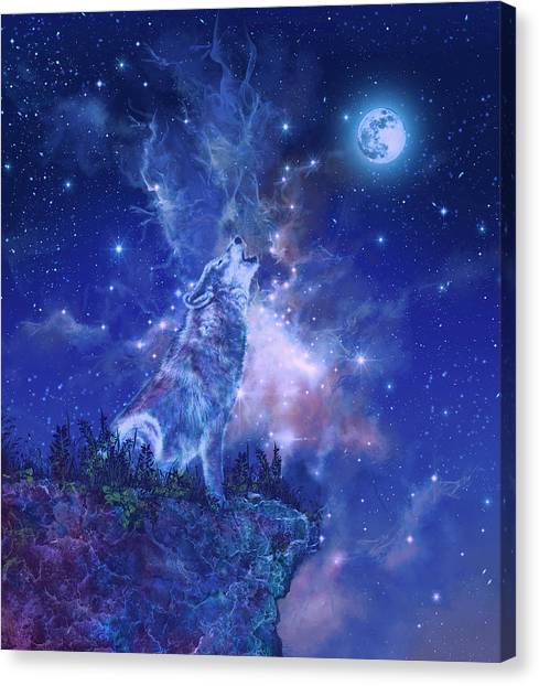 Wolf Moon Canvas Print - Wolf And Sky Blue 2 by Bekim Art