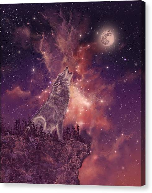 Wolf Moon Canvas Print - Wolf And Sky Red by Bekim Art