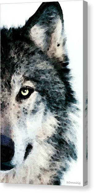 Christmas Art Canvas Print - Wolf Art - Timber by Sharon Cummings