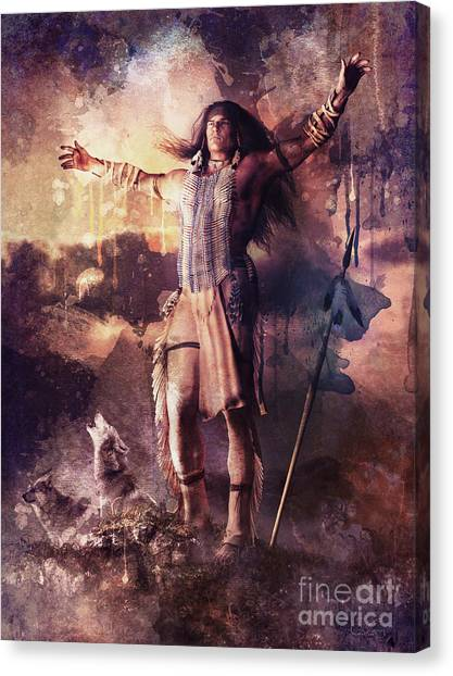Southwest Canvas Print - Wolf Clan Warrior by Shanina Conway