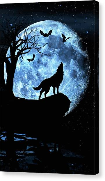 Wolf Howling At Full Moon With Bats Canvas Print