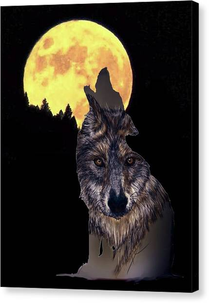 Wolf Howling At The Moon Canvas Print