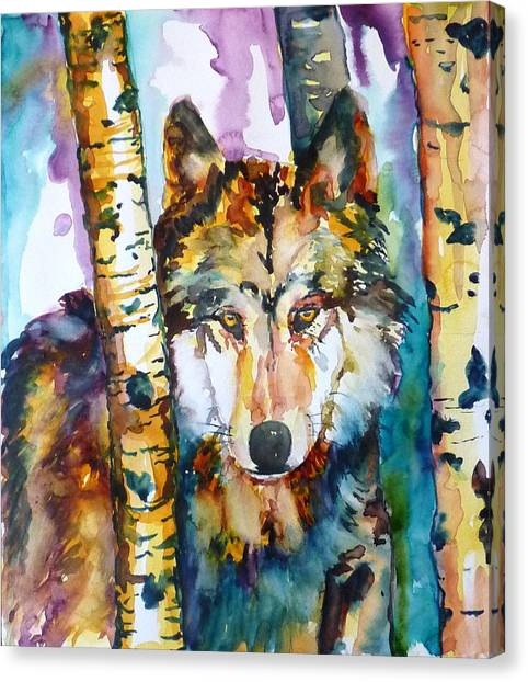 Wolf In Aspen Canvas Print