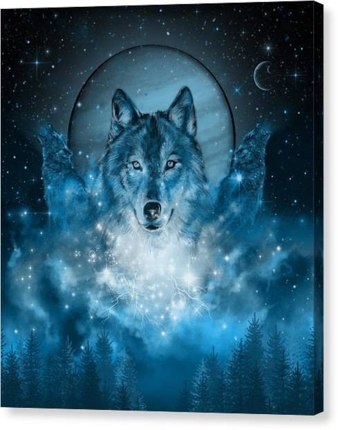 Howling Wolves Canvas Print - Wolf In Blue by Bekim Art