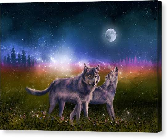 Wolf Moon Canvas Print - Wolf In The Moonlight by Bekim Art