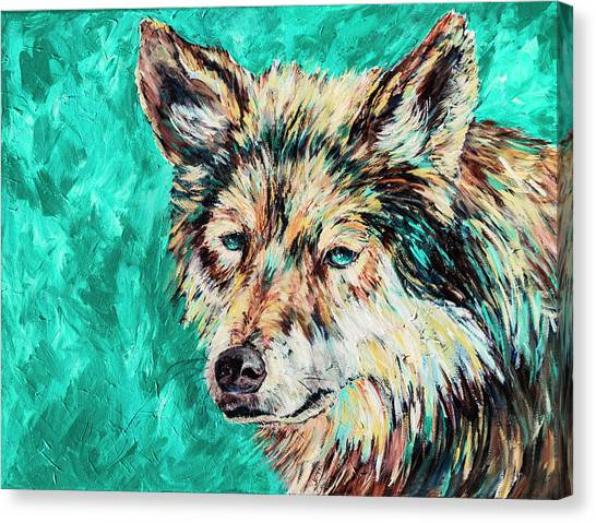 Wolf In Turquoise Canvas Print
