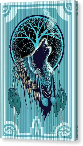 Howling Wolves Canvas Print - Wolf Indian Shaman by Sassan Filsoof