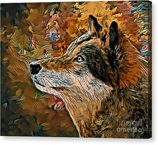 Canvas Print featuring the painting Wolf by Lita Kelley