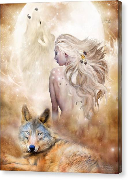 Wolf Moon Canvas Print - Wolf Moon Goddess by Carol Cavalaris